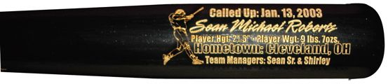 Personalized Baseball Baby Gift. Commemorate the birth of a child with a custom engraved baseball bat by Cooperstown Bat Company.  Bats feature the baby's name, birth date, height, weight, hometown and parent's names.  Wonderful baby gift idea!