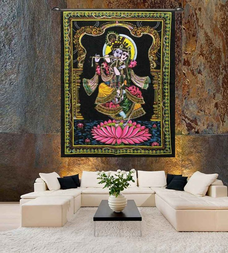 Divine lovers radha krishna sequin sitara wall tapestry.Perfect for topping a bed, couch, wall or your favorite chair.This Wall Tapestry can also be used as a: - Tapestry or a Wall Hanging, Bedspread, Bed Cover, Table Cloth, Curtain, Dorm Decor, Picnic Sheet Add an ethnic feel to your room with this cotton handmade wall hanging.