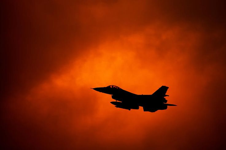 F-16 on orange sky