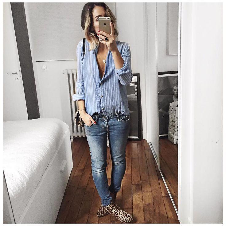 """""""En bleu et léopard! • Necklace #pascalemonvoisin (from @pascalemonvoisin) • Shirt #leonandharper (from @leonandharper) • Jean #levis (from @levis_fr) •…"""""""
