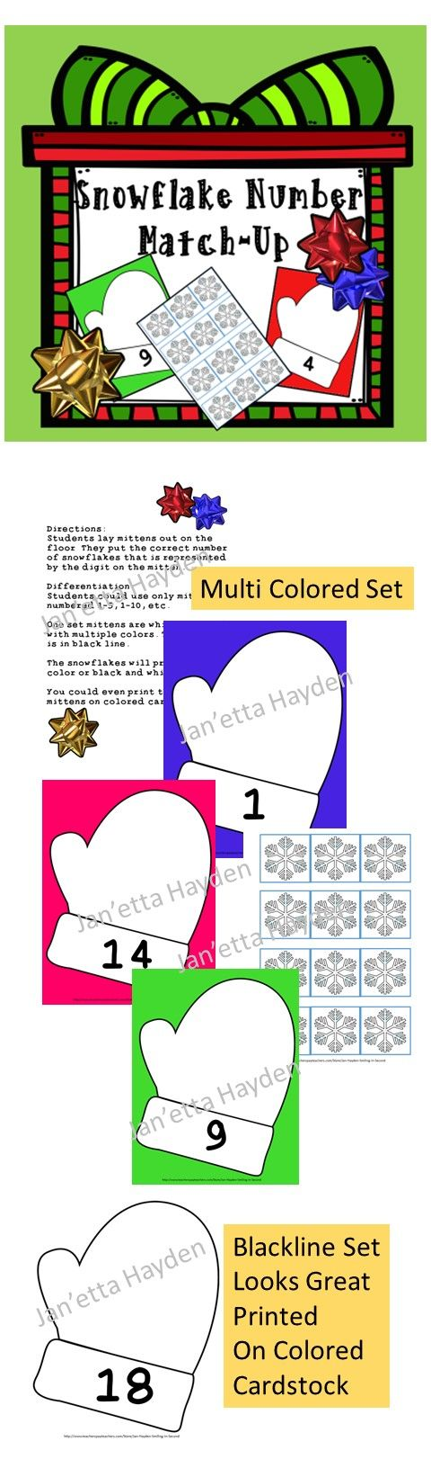 ... mittens. One set contains multi-colored mitten backgrounds. The second