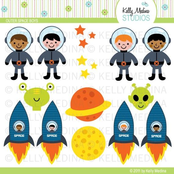 Outer space boys clip art set digital elements for Outer painting design