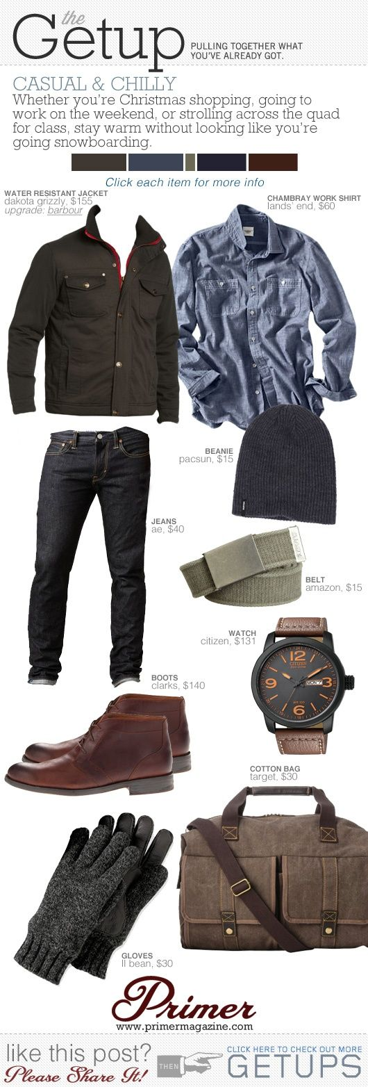 The Getup: Chilly & Casual | Primer - Click image to find more Men's #Fashion Pinterest pins