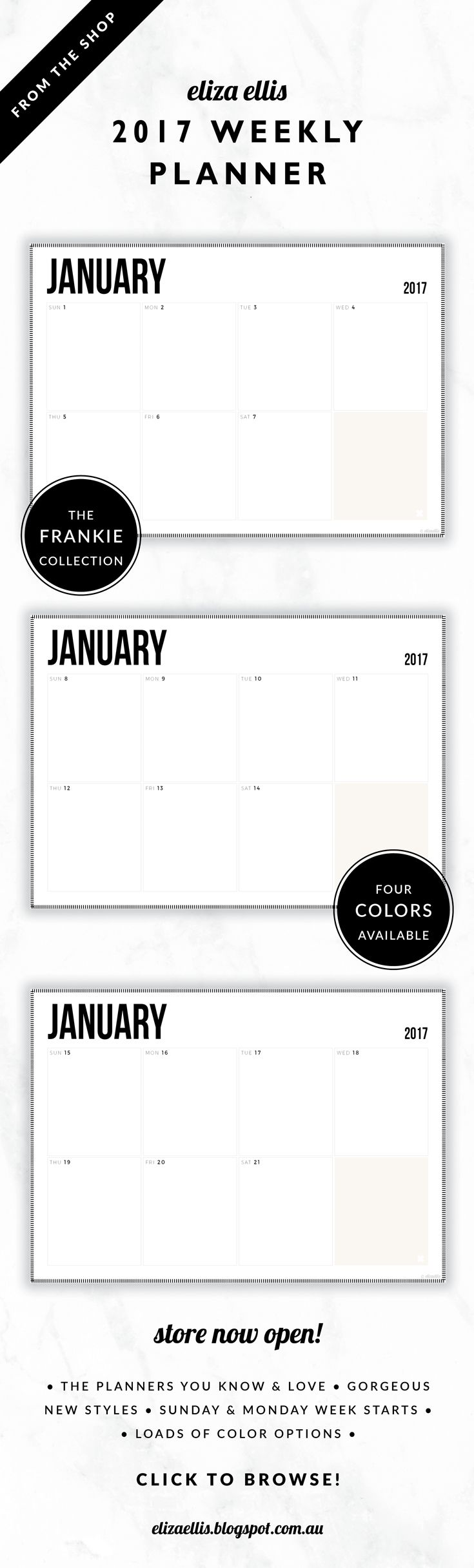 2017 Weekly Planner // The Frankie Collection by Eliza Ellis. Classic, bold design with hash border. Available in 4 colors –  silk, mist, smoke and bone. Monday and Sunday week starts included. Documents print to A4 or A5.