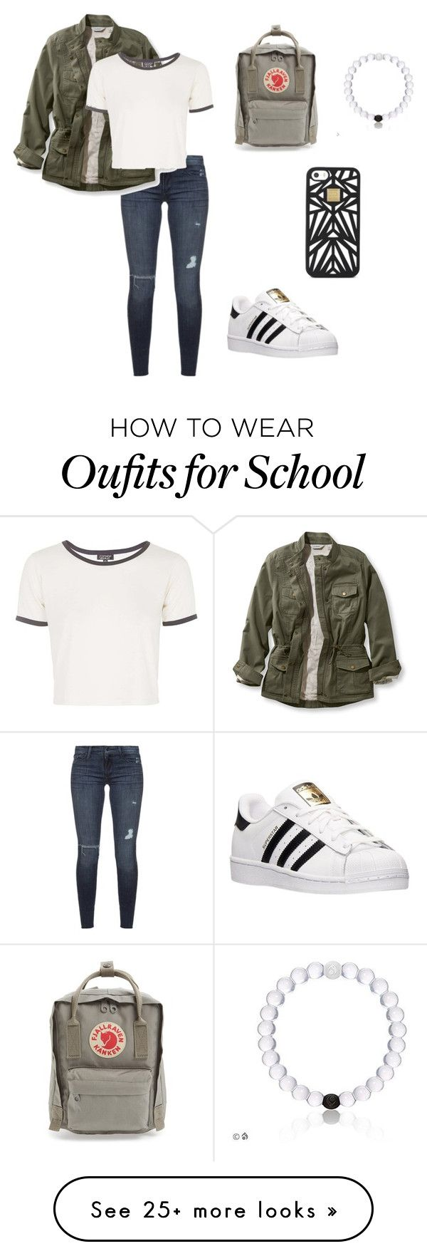 """school casual"" by peotics on Polyvore featuring Black Orchid, L.L.Bean, Topshop, adidas, Fjällräven and Hervé Léger"