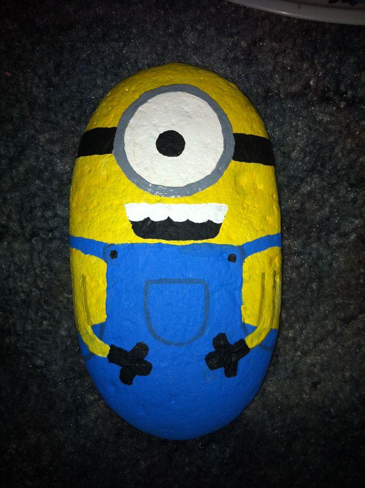 Painted rock minion!! Love him!!