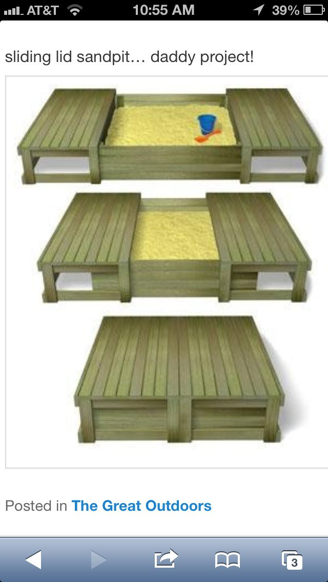 I love this sandbox--I will pin a couple more that I like. This just needs a canopy. Posts could go on 4 corners with canopy?