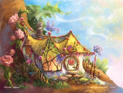 Magical fairy house art wall mural kid 39 s room for Disney tinkerbell mural