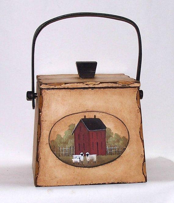 Firkin Wood Box Storage Cookie Sugar  Canister Hand by raggedyjan
