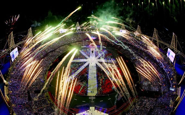 Fireworks explode over the Olympic Stadium during the closing ceremony