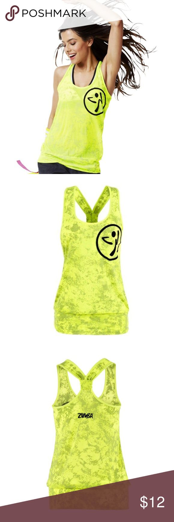 Zumba Neon Bubble Tank What's better than a top that takes you to the edge? How about one that takes you To Bubble Top and Beyond. The fitted waistband makes sure there are no wardrobe surprises while moving, and the funktified all-over burnout fabric keeps things electric while you shake-shake-shake. Soft-to-the touch signature bi-color burnout fabric with Zumba logo in fuzzy flock. Has been worn a few times but is in great condition. Size: XS/S  Material: - 50% Polyester - 50% Cotton Zumba…