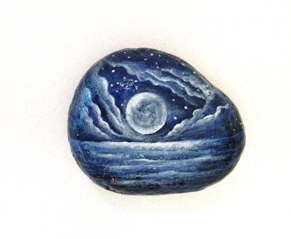 Moon rock painted paperweight stone - painted rock - moon and stars magic moon office decor