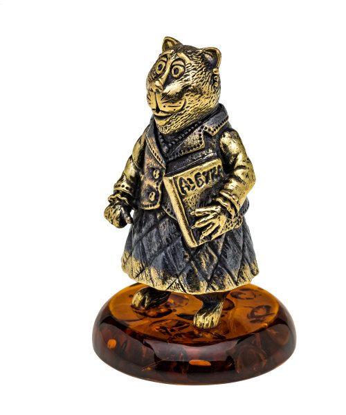 Baltic Amber Russian souvenir Brass Bell Cat by RussianSouvenirArt