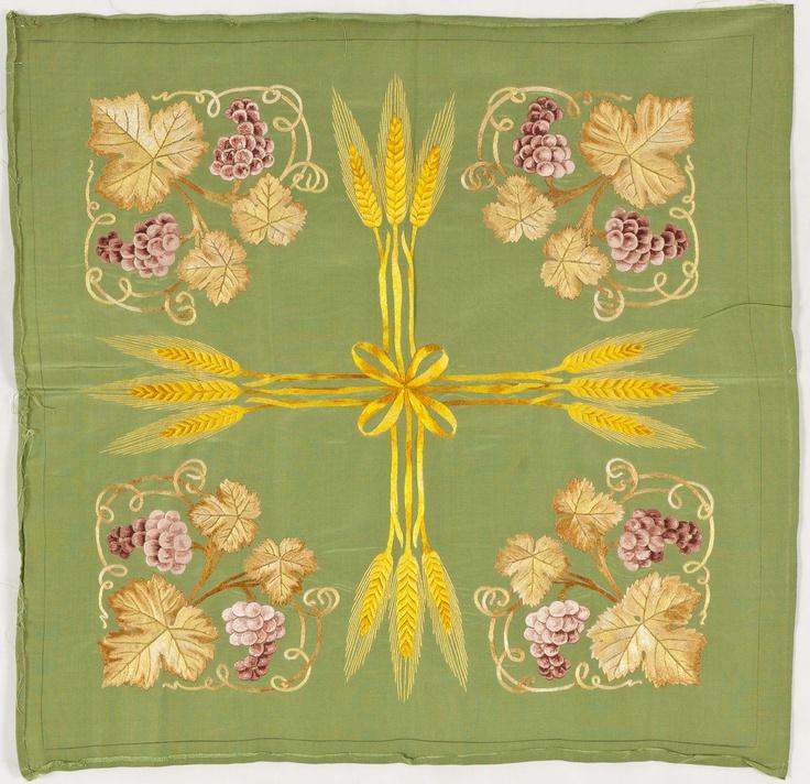 Gaspar Homar i Mesquida (1870-1953) - Wheat & Grapes Embroidered Panel. Embroidered Silk. Barcelona, Spain. Circa 1900.