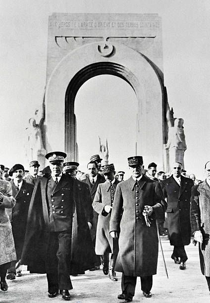 An undated picture taken in Marseille south of France shows French Marshal Philippe Petain leaving the War Memorial for the 'Poilus d'Orient' the...