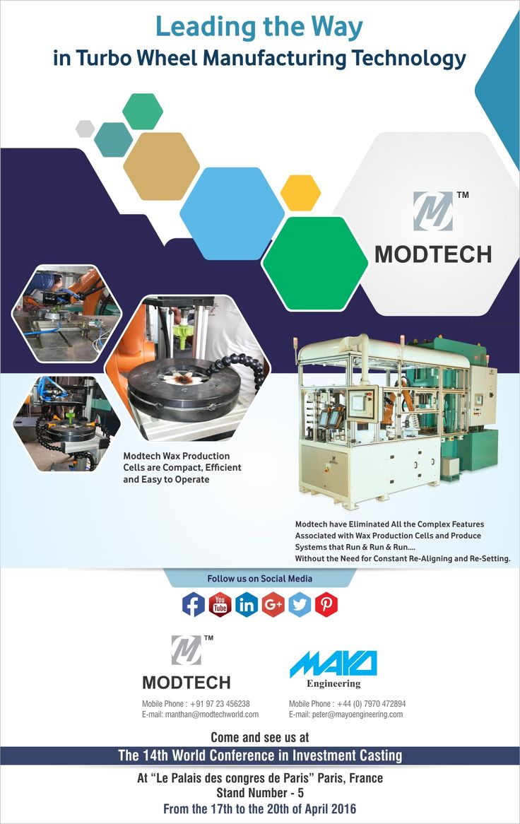 Modtech Mayo heartily invite you at the 14th World Conference in Investment Casting in Paris from 17th April to 20th April at Stand No. 5