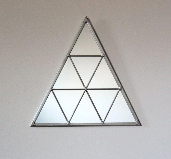 Triangle Wall Mirror Geometric Handmade Wall Mirror Triangle Shaped Mirror  >…