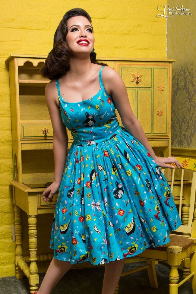 Sixties Style Swing Day Dress in Blue Snow White Print ...
