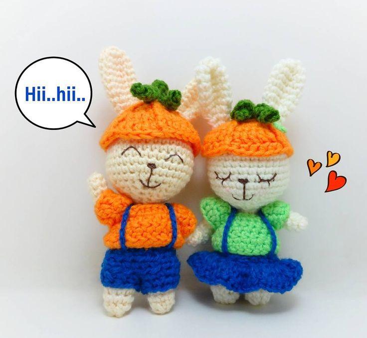 Crochet bunny couple halloween