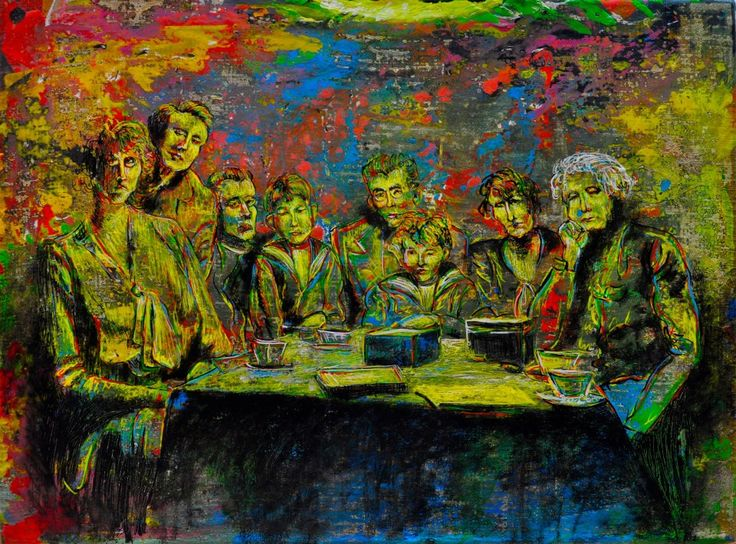 Familia 1 Familie portret. De afbeelding representeert een Limburgse familie uit Nederland uit de jaren 1880-1890.  In het midden van het schilderij bevinden zich twee jongens, een van hen is de opa van een goede kennis van mij in Nederland. De manier van schilderen is geïnspireerd op vroeg impressionistische schilders.  Constantin Duca