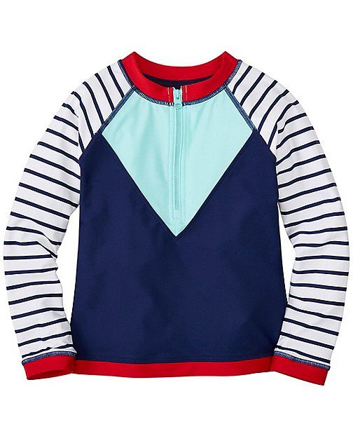 Love this blue and red rash guard! It looks very heavy duty so that your girl can withstand all kinds of waves when surfing! Hanna Andersson Sizes 12mo - 13ye
