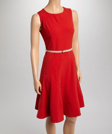 Another great find on #zulily! New Red Belted Sleeveless Dress by Sharagano #zulilyfinds