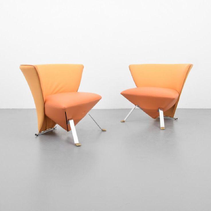 Lot 493 - Pair of Giorgio Saporiti SUPER ROY Lounge Chairs. Il Loft label Italy.