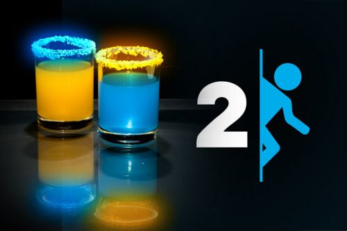Video game drinks...so cool!: Blue Curacao, Vodka Lemonade, Tumblers, Videos Games, Food, Portal2, Drinks, Cocktails, Portal 2