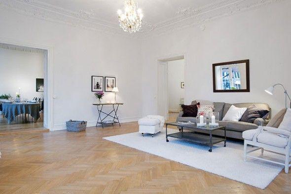 specious living room interior in beautiful Scandinavian Apartment