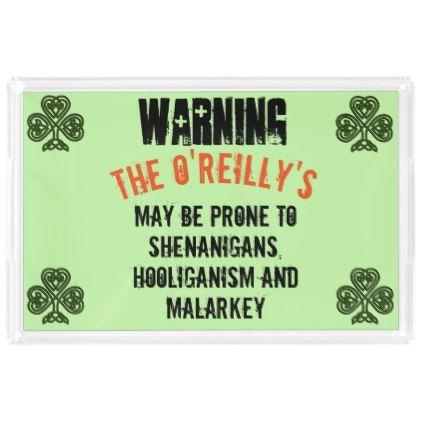 Warning Prone To Malarkey Your Name Acrylic Tray - st patricks day gifts Saint Patrick's Day Saint Patrick Ireland irish holiday party