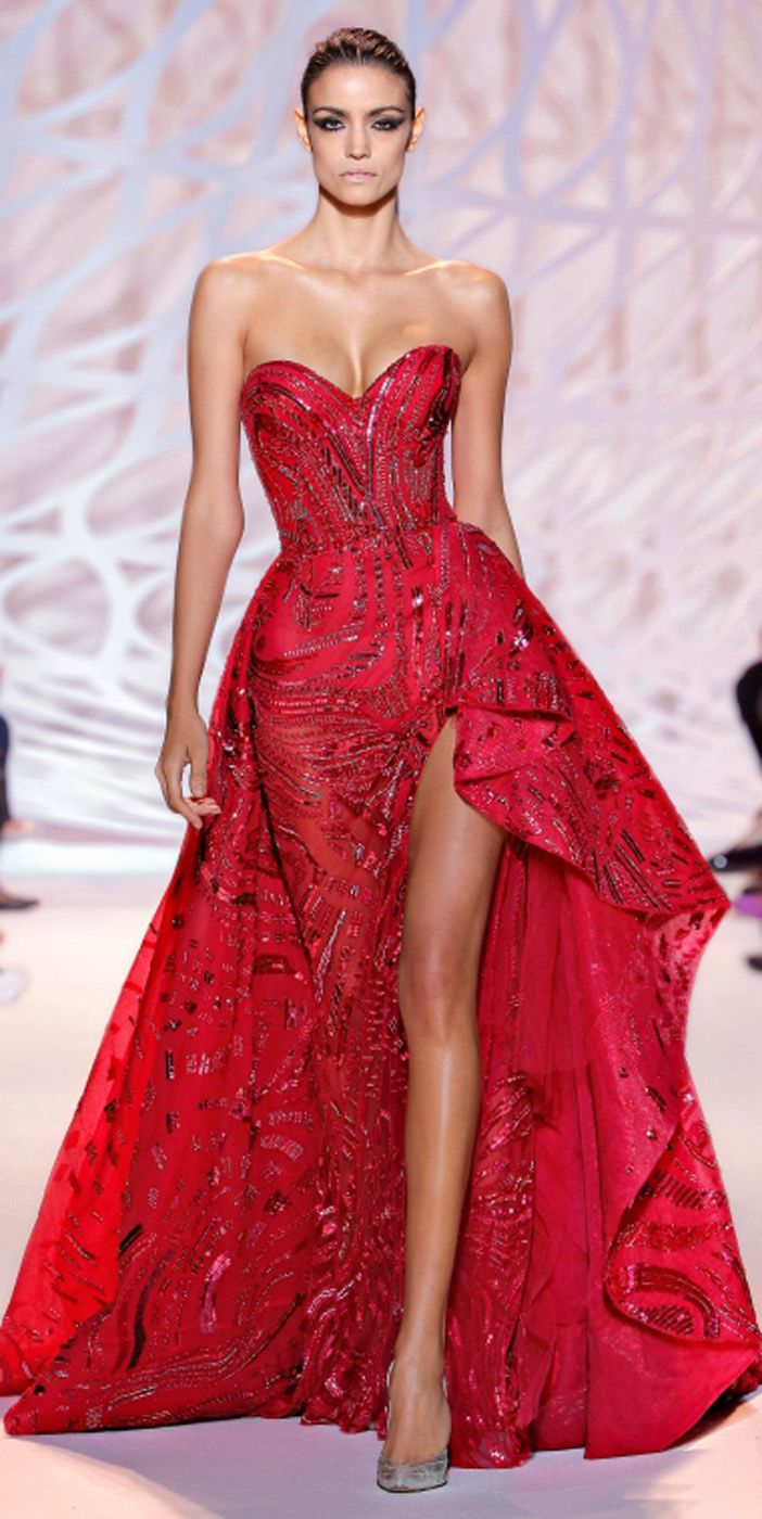 Red dress zuhair murad orange