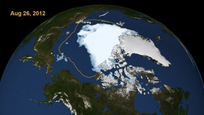 The day that the sea ice dipped to its smallest extent ever recorded in more than three decades of satellite measurements.