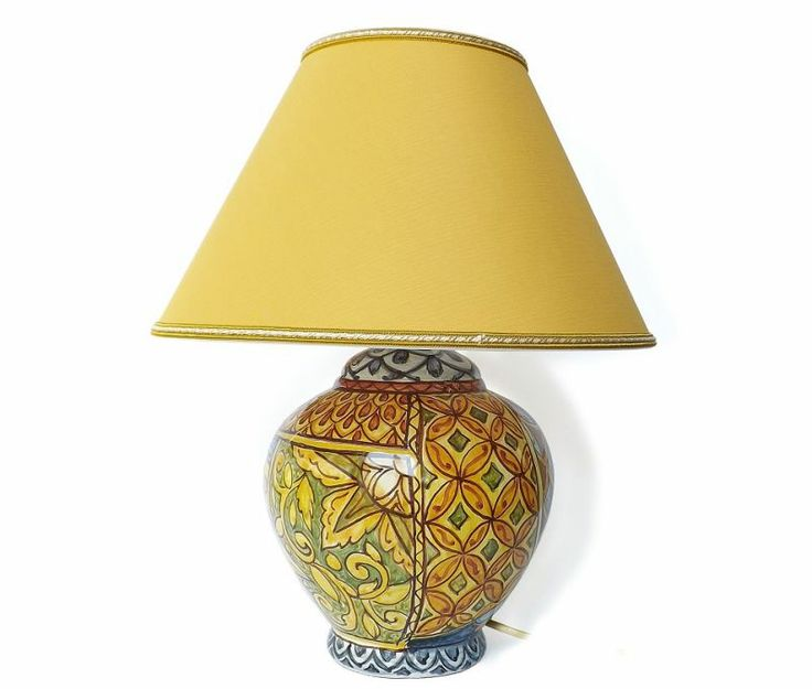 """Lamp """"Sun"""" - Base for electric lamp realized handicraft by hand in terracotta or cotto and decorated with a floral design and """"peacock tails"""" of Vietri glaze. #artigianato #lamp #lume #abatjour #madeinitaly"""