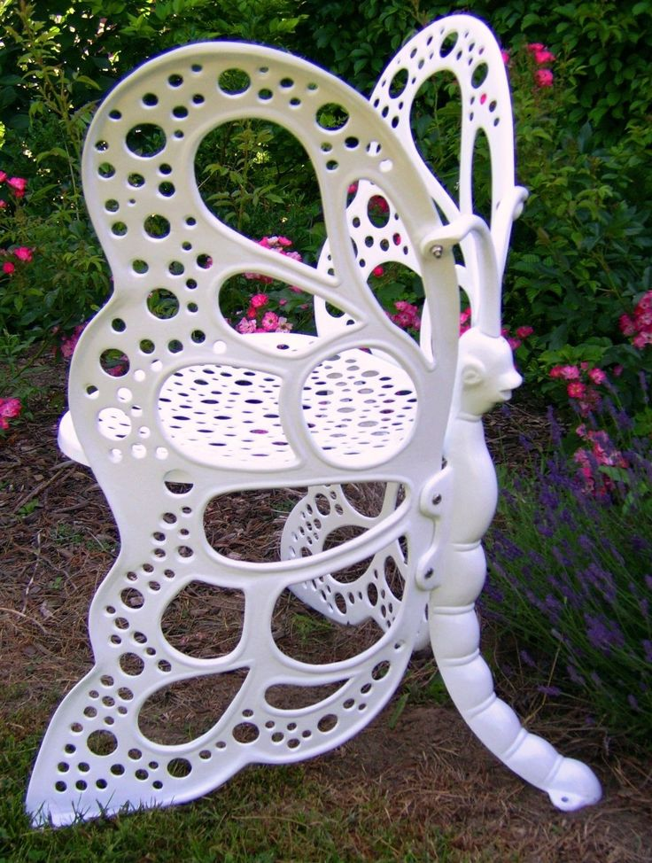FlowerHouse Butterfly Chair Cast Aluminum Patio Furniture Black White Or  Antique