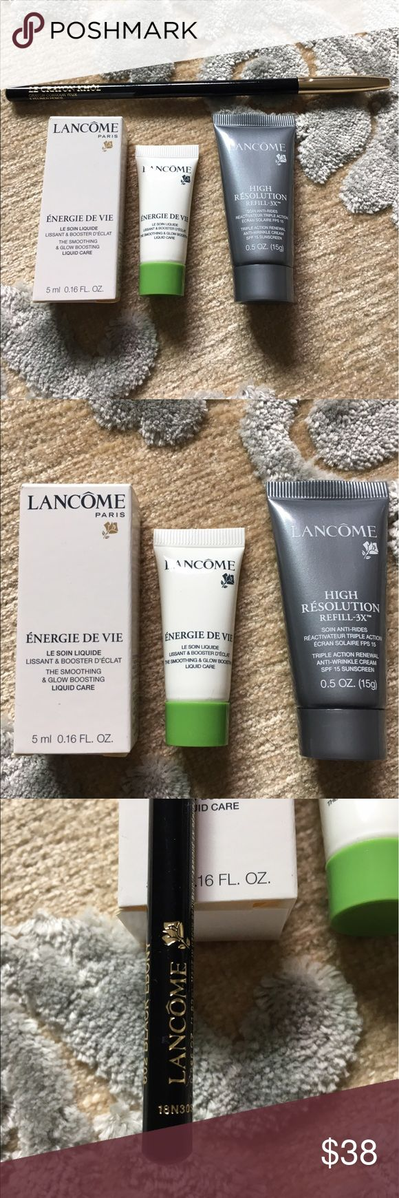 Lancome set *Unused & Unopened* 1- full size Le Crayon Kohl eyeliner pencil in 602 Black Ebony, 1- sample size Energie De Vie smoothing & glow boosting liquid 5 ml/.16 Fl oz, 1- High Resolution Refill 3x triple action anti-wrinkle w/ SPF 15 0.5 oz. Please see additional photos for retail price of full sized items. Never been used!! Lancome Makeup