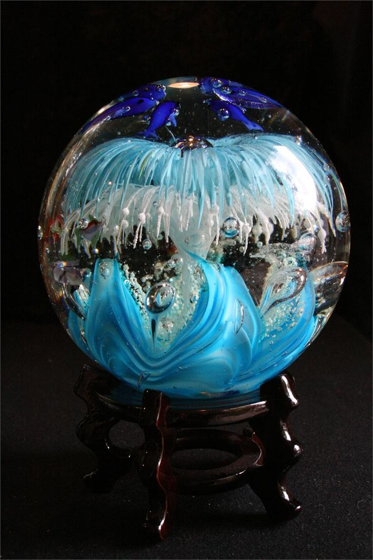 Hand Blown Glass Paperweight-Gazing Ball-Extra Large-Baby Blue & White Flowers.