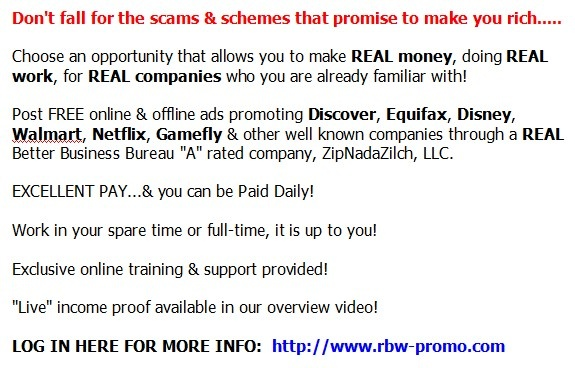 Get in for the cost of a McDonald's lunch & start working from home today!  GET DETAILS HERE:  http://www.rbw-promo.com