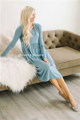 Cute Dusty Blue Pocket Modest Dress Bridesmaids Dress, Church Dresses, dresses for church, modest bridesmaids dresses, trendy modest dresses, modest womens clothing, affordable boutique dresses, cute modest dresses, mikarose, trendy modest boutique