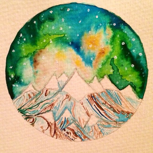Watercolor circle- mountain and starry sky- Ashleigh Hunter