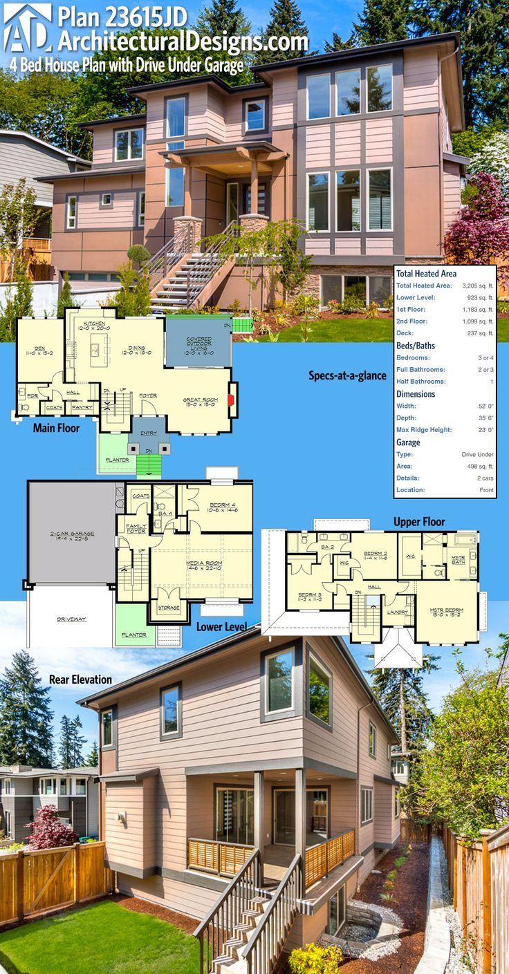 25 best ideas about 3 bedroom house on pinterest the for Best drive under house plans
