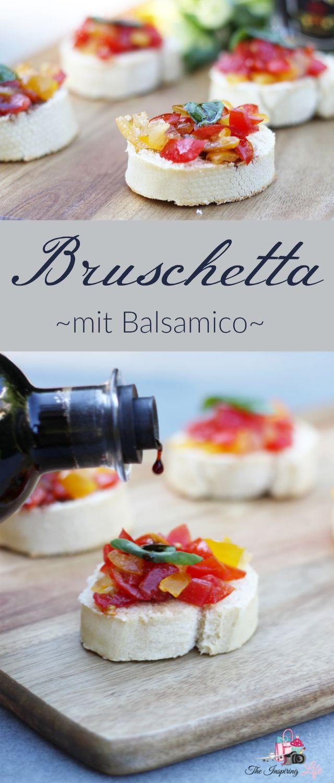 #werbung Selbstgemachtes Bruschetta mit Balsamico, frischen Tomaten, Knoblauch und Olivenöl. Super erfrischend und schnell gemacht. Ideal auch als Partysnack / Fingerfood