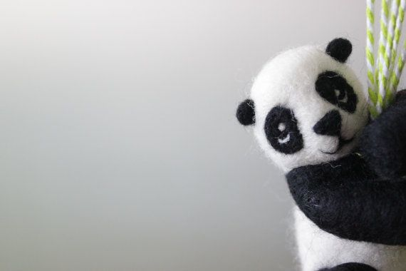Aguja de fieltro oso Panda con globo ramo vivero por MerleyBird