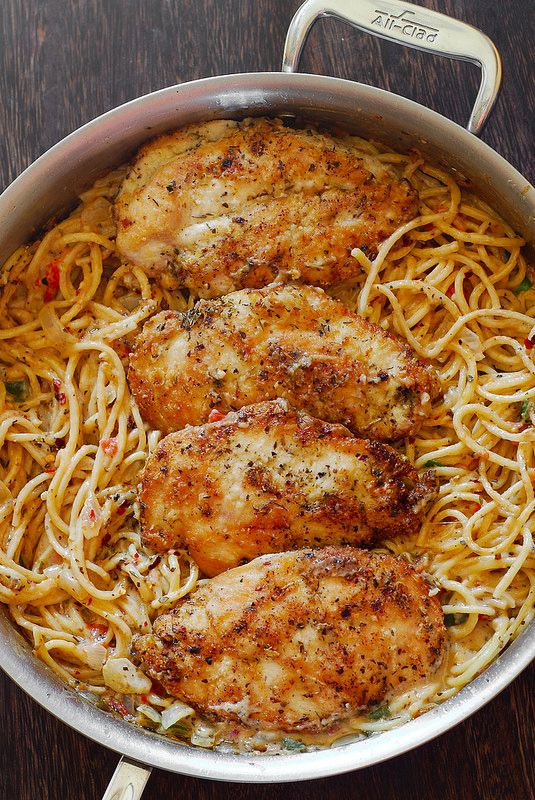 Chicken Pasta in Creamy White Wine Parmesan Cheese Sauce