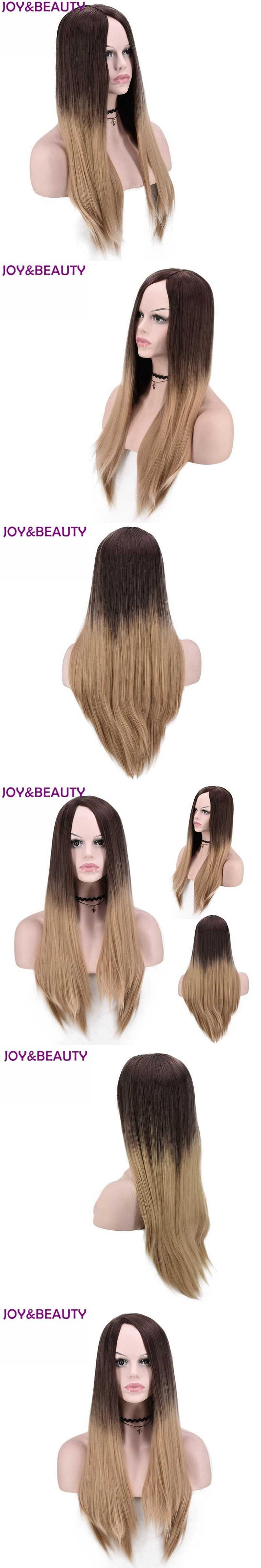 "JOY&BEAUTY Light Brown Ombre Long Straight Wig Brown Root High Temperature Fiber 24"" Long Black White Women Wigs"