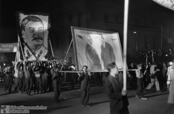 Mass Rally and Torchlight Procession by the Free German Youth in East Berlin (October 11, 1949) - An example of early GDR propaganda as the Free German Youth are being indoctrinated and won over.  I find it disgusting that propaganda is often targeted at the youth, but I understand from a psychological standpoint that it is far easier to change the opinion of a brain that is not yet fully-formed rather than an adult who has a wealth of life experiences.