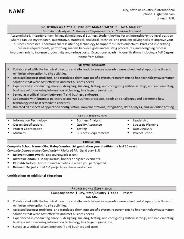 Resume Samples for College Student Luxury College Graduate