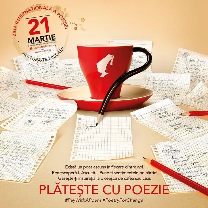 """""""Plătește cu poezie"""" a ajuns la cea de-a 5-a ediție în România. Anul acesta peste 270 de cafenele din țară acceptă versuri în schimbul cafelei."""