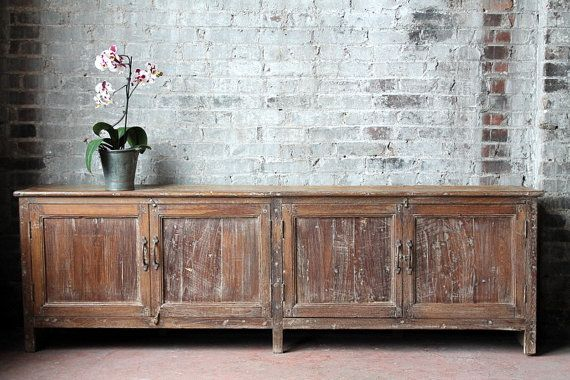 Long and Low Reclaimed Antique Sideboard Media Console TV Stand Buffet Warm…
