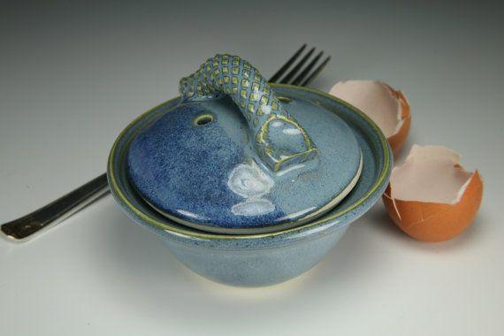 Egg Cup Microwave Egg Poacher Blue Glaze by StonewarebyTBPOTS