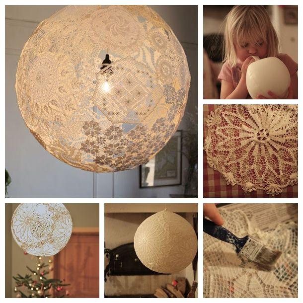 lace lamp F Wonderful DIY Beautiful Lace Lamp - Acesse: https://pitacoseachados.wordpress.com - https://www.facebook.com/pitacoseachados - #pitacoseachados